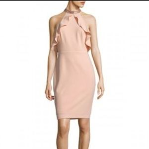NWT Calvin Klein Beaded Halter Choker Peach Dress